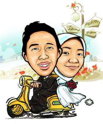 Undangan Pernikahan Kartun Karikatur